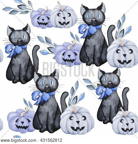 Watercolor Seamless Hand Drawn Pattern With Witch Cat Bue Pumknins And Floral Elements. Halloween Ba