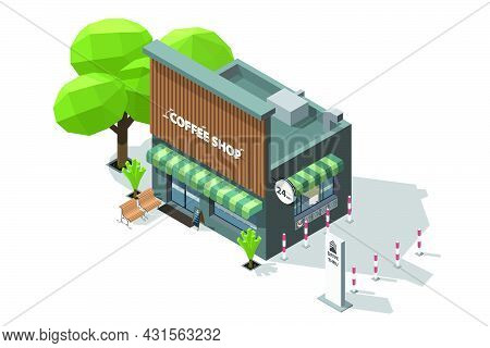 Isometric Coffee Shop And Bench To Sit And Wait At The Entrance 3d Model Of A Coffee Shop And Drive