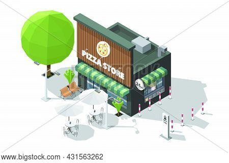 Isometric Pizza Shop Or Pizza Store And Bench To Sit And Wait At The Entrance 3d Model Of Restaurant