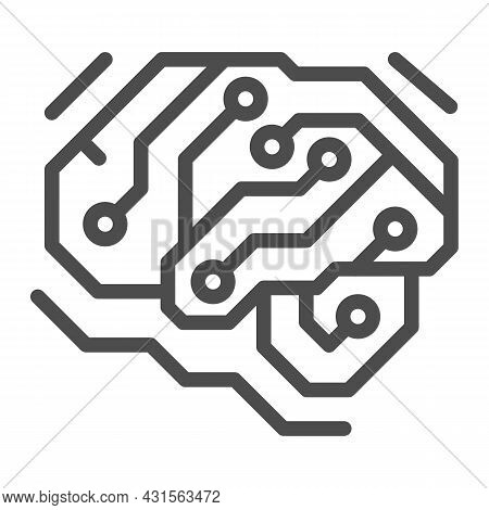 Fragment Of Analog Circuit In The Form Of A Brainline Icon, Electronics Concept, Pcb Vector Sign On