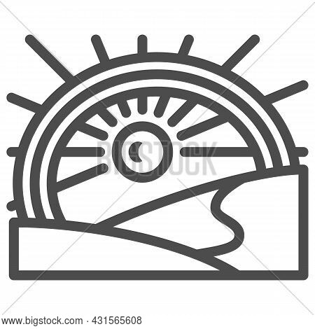 Sun Under The Rainbow In The Field Line Icon, Nature Concept, Sunshine And Landscape Vector Sign On