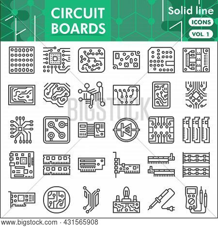 Printed Circuit Board Line Icon Set, Micro Chip Symbols Collection Or Sketches. Pcb Solid Line With