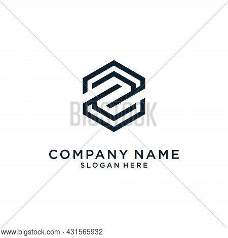 Initial Letter Z Hexagon Shape Logo Design Concept On White Background.