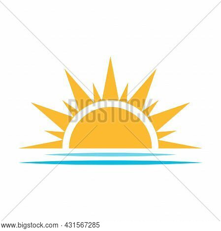 A Half Sun Is Setting Downwards Icon Vector Sunset Concept For Graphic Design, Logo, Website, Social