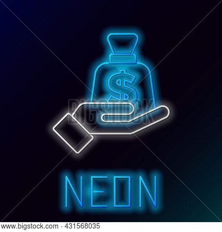 Glowing Neon Line Money In Hand Icon Isolated On Black Background. Insurance Concept. Security, Safe