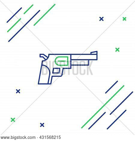 Line Revolver Gun Icon Isolated On White Background. Colorful Outline Concept. Vector