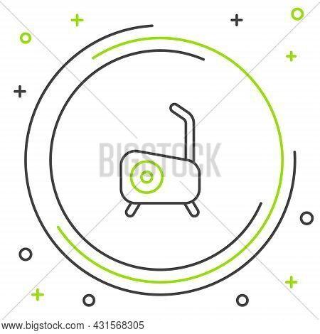 Line Stationary Bicycle Icon Isolated On White Background. Exercise Bike. Colorful Outline Concept.