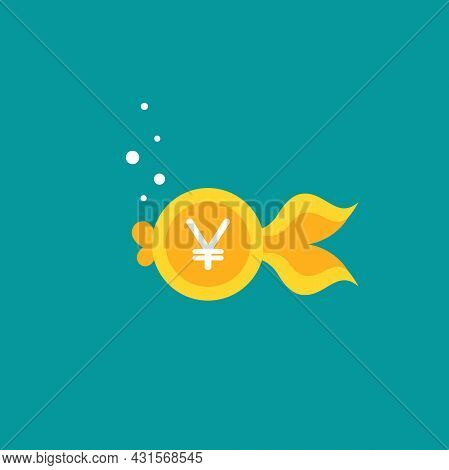 Goldfish. Yen Coin As Golden Fish. Flat Icon Isolated On Blue Background. Free, Easy Catch Money. Ec