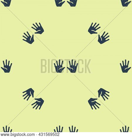 Blue Medical Rubber Gloves Icon Isolated Seamless Pattern On Yellow Background. Protective Rubber Gl