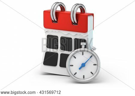 Modern 3d Calendar Front Side With Task Management Time Using Stopwatch. Concept Schedule Planning B