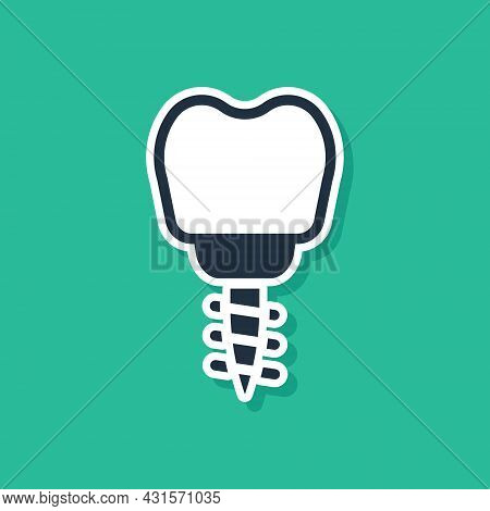 Blue Dental Implant Icon Isolated On Green Background. Vector