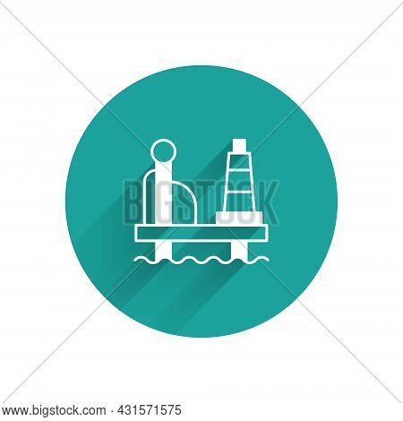White Oil Platform In The Sea Icon Isolated With Long Shadow Background. Drilling Rig At Sea. Oil Pl