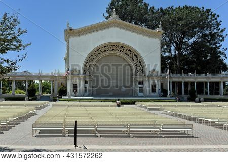 SAN DIEGO, CALIFORNIA - 25 AUG 2021: Spreckels Organ Pavilion in Balboa Park, is home to the largest outdoor organ in the world.