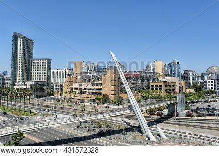 SAN DIEGO , CALIFORNIA - 25 AUG 2021: Petco Park home of the San Diego Padres of Major League Baseball.