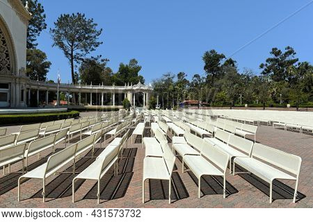 SAN DIEGO, CALIFORNIA - 25 AUG 2021: Seating at Spreckels Organ Pavilion in Balboa Park home of the largest outdoor organ in the world.