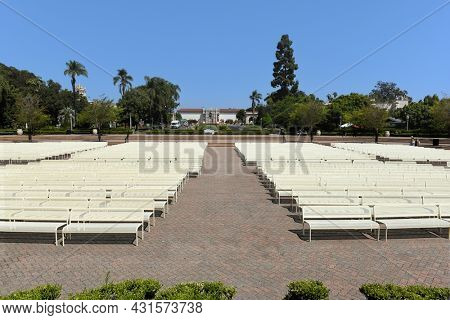 SAN DIEGO, CALIFORNIA - 25 AUG 2021: Seating at Spreckels Organ Pavilion in Balboa Park, viewed from the stage.