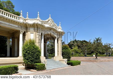 SAN DIEGO, CALIFORNIA - 25 AUG 2021: Side Walkway at Spreckels Organ Pavilion in Balboa Park, is home to the largest outdoor organ in the world.