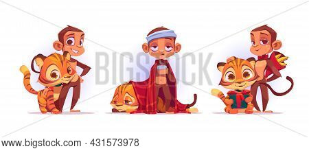 Cute Monkey And Tiger Stand Together, Sick And Holding Presents. Vector Cartoon Set Of Friends Jungl