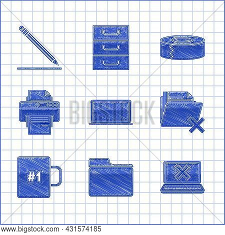 Set Laptop, Document Folder, And Cross Mark On Screen, Delete, Coffee Cup, Printer, Scotch And Penci
