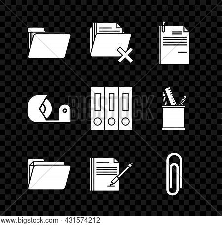 Set Document Folder, Delete, File Document And Paper Clip, Blank Notebook Pen, Paper, Scotch And Off