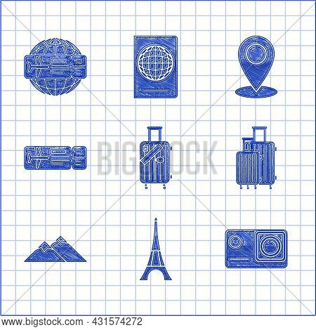 Set Suitcase For Travel And Stickers, Eiffel Tower, Action Extreme Camera, Mountains, Airline Ticket