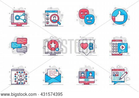 Social Media Concept Flat Line Icons Set. Networking And Online Communication. Bundle Of Link, Searc