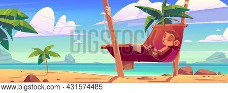 Funny Monkey Sleeping In Hammock On Tropical Seaside Beach With Ocean View, Rocks And Palm Trees, Cu