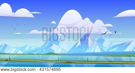 Mountain Valley With Green Field And River. Vector Cartoon Illustration Of Summer Landscape With Blu