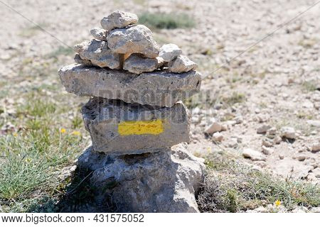 Tour Trail Path Sign On Stones Pyramid For Hiking In Mountain Pathway