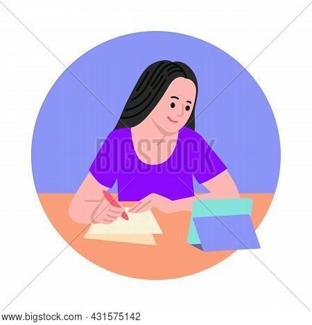 Girl Sitting At Table, Writing And Using Digital Tablet Vector Illustration. E-learning, Online Educ