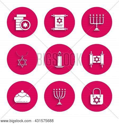 Set Burning Candle In Candlestick, Hanukkah Menorah, Shopping Bag With Star Of David, Torah Scroll,