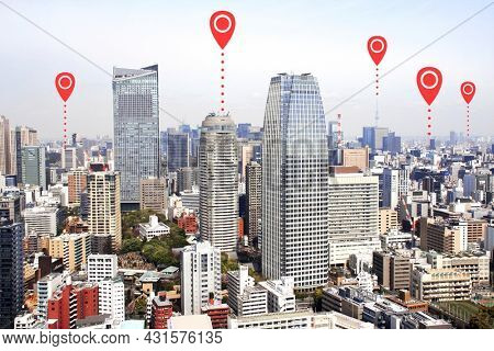 Network connection concept. Aerial view on Tokyo with red location pin. Global positioning system pin map. Map pins with Tokyo city, Japan