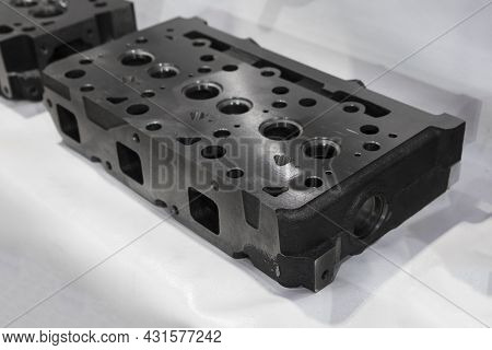 As Machined Head Cylinder From Iron Casting ; Close Up