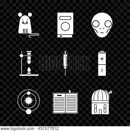 Set Rat, Book, Extraterrestrial Alien Face, Solar System, Open Science Book, Astronomical Observator