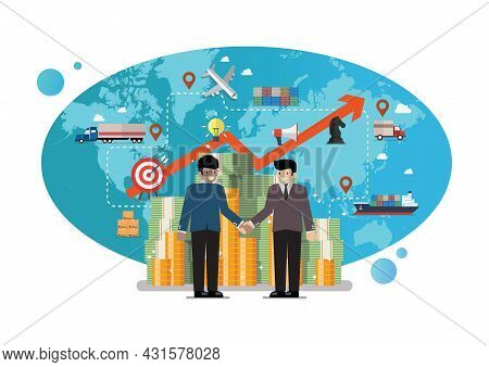Business Partnership With Global Logistics Network On Background. Vector Illustration