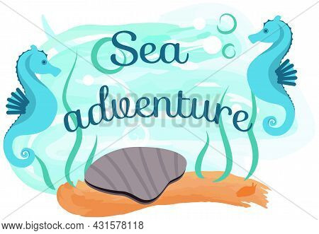 Marine Life Elements, Underwater World With Ocean Fauna. Shell, Seahorse And Seaweed Near Sign With