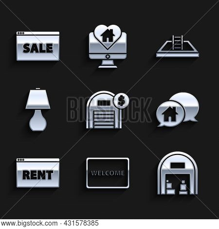 Set Warehouse With Dollar Symbol, Doormat The Text Welcome, House Building In Speech Bubble, Hanging
