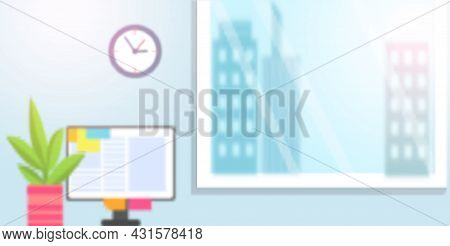 Modern Graphic Bright Room With Working Place Near Big Window Overlooking Cityscape With Tall Buildi