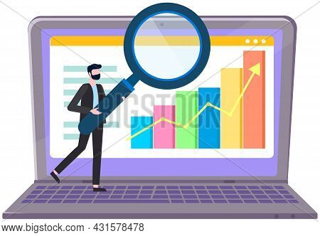 Working Businessman Vector, Business Plan And Strategy. Male Character With Magnifying Glass Analyze