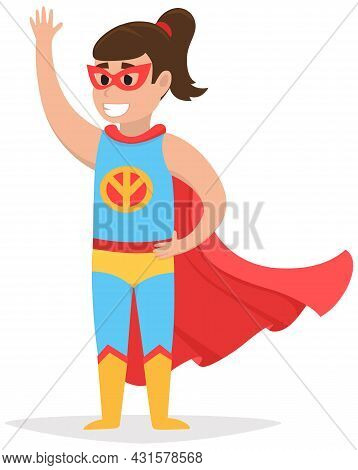 Superwoman Smiling, Waving Hand And Has Superpowers. Cartoon Character In Superhero Costume With Red