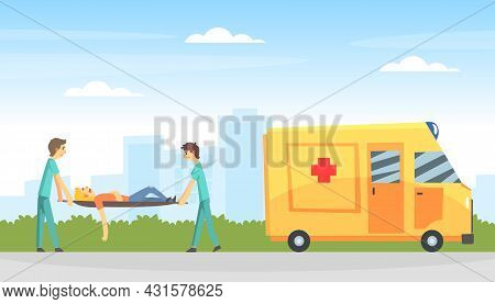 Car Accident With Ambulance And Man Victim Carried By Doctors Vector Illustration