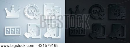 Set Playing Card With Clubs Symbol, Casino Chip And Playing Cards, Slot Machine Lucky Sevens Jackpot