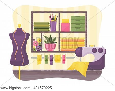 Seamstress Workshop. Interior. Vector Illustration. Cartoon Style.