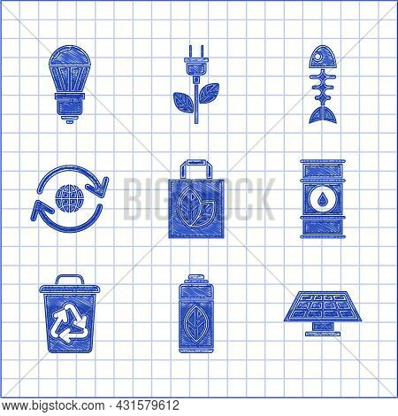 Set Paper Shopping Bag With Recycle, Recycling Plastic Bottle, Solar Energy Panel, Oil Barrel Line,