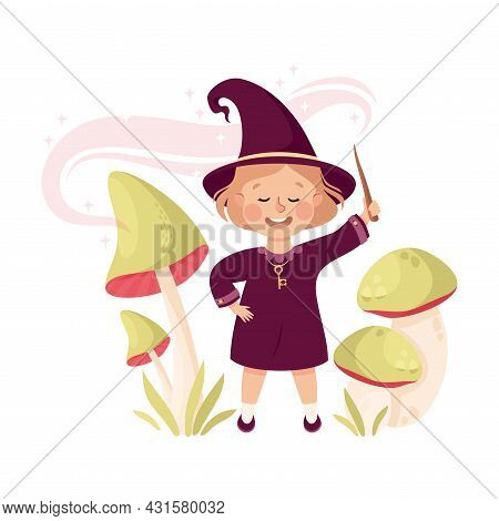 Happy Girl Witch In Purple Dress And Pointed Hat Casting Spell Practising Witchcraft And Doing Magic