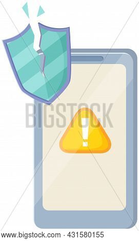 Smartphone Security, Protect Your Digital Gadget Concept. Mobile Phone And Shield, Exclamation Mark.