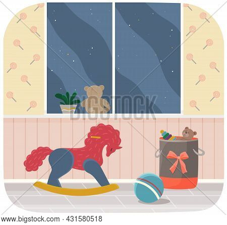 Stylish Interior Of Children S Room. Wooden Rocking Horse, Basket With Toys And Ball In Room. Interi
