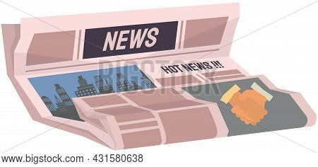 Vintage Newspaper Of Business. News Articles Newsprint Magazine Old Design. Printing Text In Preess.