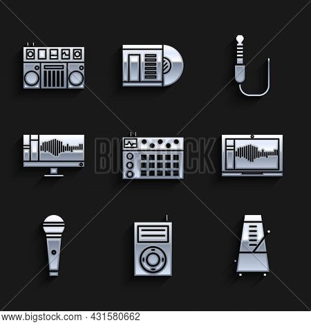 Set Drum Machine, Music Mp3 Player, Metronome With Pendulum Motion, Sound Or Audio Recorder Laptop,