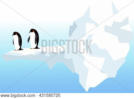 Nature Landscape With Penguins, Icebergs And Mountains. Antarctic Climate, Winter, Cold Weather. Fli